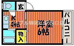 岡山県岡山市中区浜丁目なしの賃貸マンションの間取り