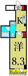 コンシェリア東京IRIYA STATION FRONT 8階1Kの間取り
