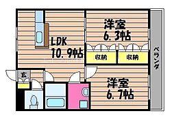 岡山県倉敷市玉島黒崎丁目なしの賃貸アパートの間取り