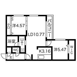 札幌市電2系統 西線11条駅 徒歩7分の賃貸マンション 2階2LDKの間取り