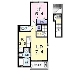 プチフローラ北野田I 2階1LDKの間取り