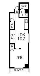 コスモリード大阪本町 3階1LDKの間取り