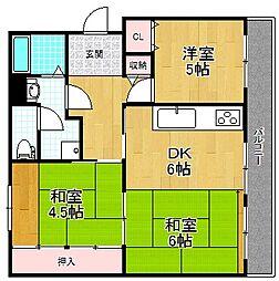 釈尊寺第1住宅第12棟[2階]の間取り