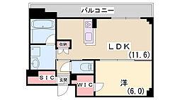 ワコーレザ・神戸トアロード 7階1LDKの間取り
