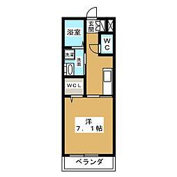 ドルチェ磐田二之宮 2階1Kの間取り