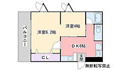 ハーモニーKハウスMYU[203号室]の間取り