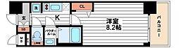 プレサンス心斎橋ソレイユ 4階1Kの間取り