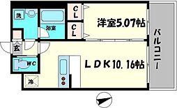 Osaka Metro長堀鶴見緑地線 蒲生四丁目駅 徒歩3分の賃貸マンション 6階1LDKの間取り