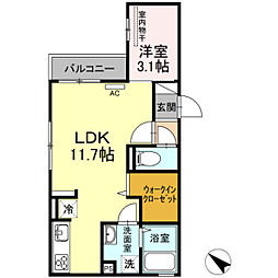 D-room下大利駅前 3階1LDKの間取り