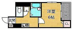 M'プラザ香里弐番館 6階1Kの間取り