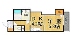 ヴィラ甲子園洲鳥荘 2階1Kの間取り