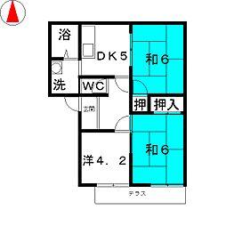 フレグランス萩B[1階]の間取り