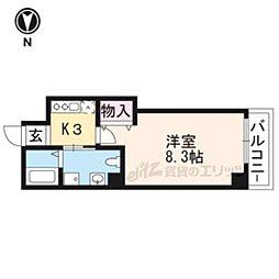 JR山陰本線 二条駅 徒歩19分の賃貸マンション 4階1Kの間取り