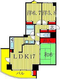 レクセル五香ツインフォルテ[4階]の間取り