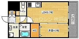 アンフィニ18吹田昭和町 2階1LDKの間取り