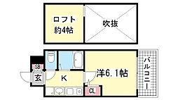 エステムコート三宮駅前ラ・ドゥー[213号室]の間取り