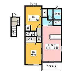 グランディールK.K II[2階]の間取り