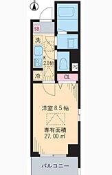 小田急小田原線 代々木八幡駅 徒歩2分の賃貸マンション 4階1Kの間取り