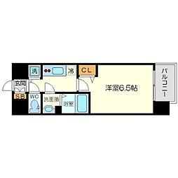 メインステージ新大阪 4階1Kの間取り