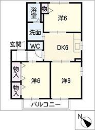 ジュネス B棟 2階3DKの間取り