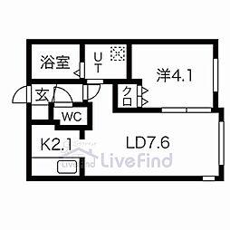 札幌市営東豊線 豊平公園駅 徒歩7分の賃貸マンション 1階1LDKの間取り