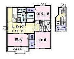 岡山県倉敷市四十瀬丁目なしの賃貸アパートの間取り