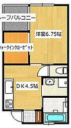 西鉄天神大牟田線 西鉄柳川駅 徒歩21分の賃貸アパート 2階1DKの間取り