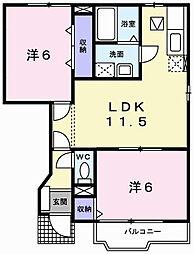 クレストール上野田B[1階]の間取り