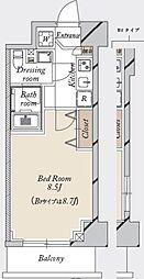 都営新宿線 森下駅 徒歩19分の賃貸マンション 6階1Kの間取り