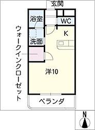 メゾンドヴェールII 1階ワンルームの間取り