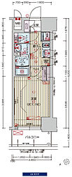 阪神なんば線 九条駅 徒歩3分の賃貸マンション 15階1Kの間取り