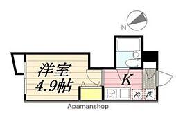 JR総武線 東中野駅 徒歩8分の賃貸マンション 2階1Kの間取り