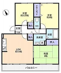 八千代台南ガーデンパレスC[3階]の間取り