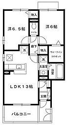 兵庫県神戸市西区丸塚1丁目の賃貸アパートの間取り