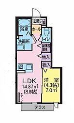 シャーメゾングランドガーデンC 1階1LDKの間取り