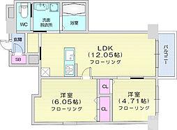 仙台市営南北線 仙台駅 徒歩15分の賃貸マンション 11階2LDKの間取り
