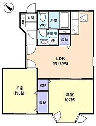 サンハイムA[1階]の間取り
