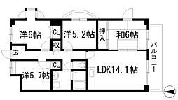 プラビーラコート3[2階]の間取り