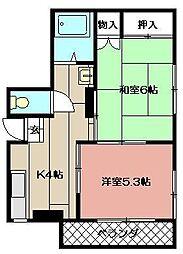 松田ビル(八幡西区)[303号室]の間取り