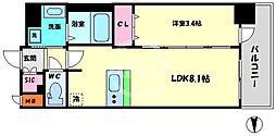 エステムコート梅田・天神橋IVステーションフロント 4階1DKの間取り