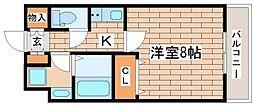 神戸高速東西線 高速神戸駅 徒歩7分の賃貸マンション 2階1Kの間取り