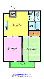 サンライズマンション 2階2DKの間取り