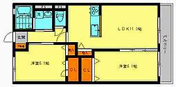 ウィズハイム天神山 弐番館 2階2LDKの間取り