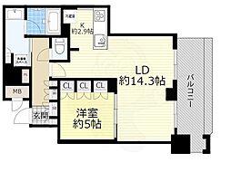 ブランズタワー梅田NORTH 25階1LDKの間取り