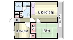 JR東海道・山陽本線 西明石駅 徒歩30分の賃貸アパート 2階2LDKの間取り