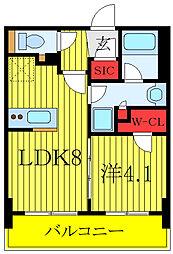 プレミスト板橋 8階1LDKの間取り