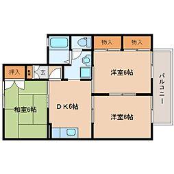 静岡県藤枝市駿河台の賃貸アパートの間取り