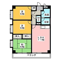 バロワール宝神[3階]の間取り