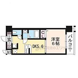 JR東海道・山陽本線 西大路駅 徒歩12分の賃貸マンション 5階1DKの間取り