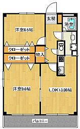 静岡県三島市中島の賃貸マンションの間取り